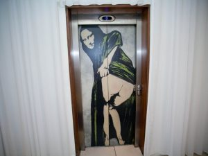 The Mona Lisa mooning guests? This crazy elevator is located in the Morgan Hotel in Dublin.
