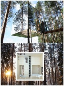 This is the Mirrorcube in Sweden.Sleeps two and had a bathroom and a living room or those who really want to get away.